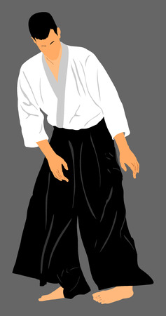 demonstrate: Aikido fighter vector silhouette illustration. Training action. Self defense, defence art excercising concept. Aicido instructor demonstrate skill.