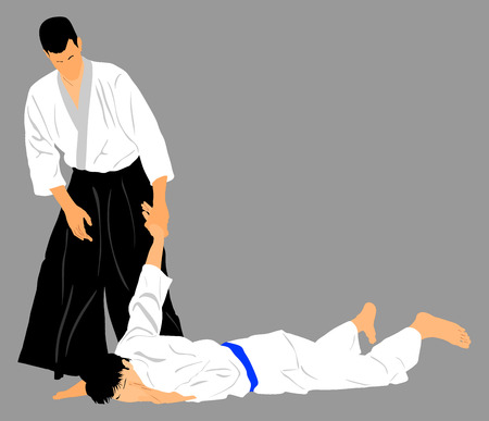 grappling: Fight between two aikido fighters vector silhouette symbol illustration. Sparring on training action. Self defense, defence art excercising concept. Karate and aikido fighters.