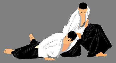 defensa personal: Lucha entre dos luchadores de aikido vector silueta de ilustración de símbolo. Sparring en la acción formativa. La defensa propia, defensa concepto de arte excercising.