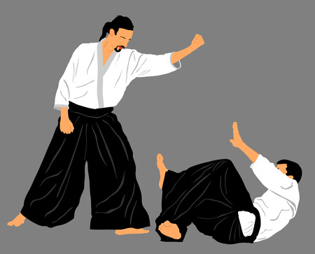 aikido: Fight between two aikido fighters vector silhouette symbol illustration. Sparring on training action. Self defense, defence art excercising concept.