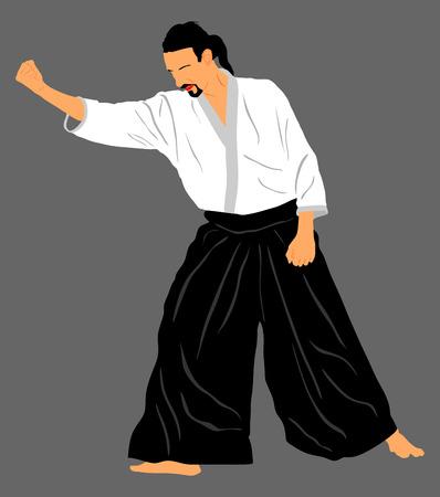 defensa personal: Aikido combatiente silueta ilustración vectorial. acción formativa. La defensa propia, defensa concepto de arte excercising. instructor Aicido demostrar habilidad.