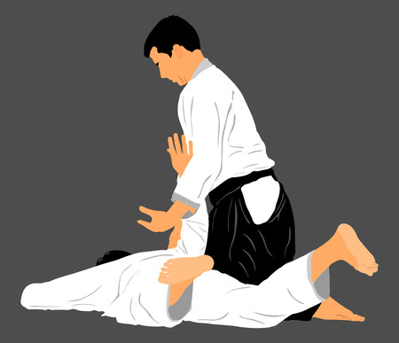 Fight between two aikido fighters vector silhouette symbol illustration. Sparring on training action. Self defense, defence art excercising concept. Karate and aikido fighters.