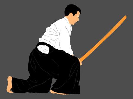 defensa personal: Aikido combatiente silueta ilustración vectorial. acción formativa. La autodefensa, el arte de defensa ejercicio concepto. instructor de Aikido demostrar habilidad con la katana.