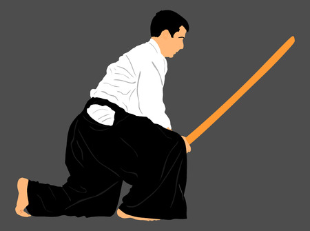 kungfu: Aikido fighter vector silhouette illustration. Training action. Self defense, defense art exercising concept. Aikido instructor demonstrate skill with katana.