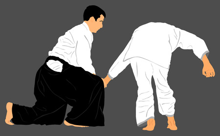 wrestle: Fight between two aikido fighters vector silhouette symbol illustration. Sparring on training action. Self defense, defence art excercising concept. Karate and aikido fighters.
