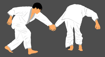 Fight between two karate or judo fighters vector silhouette symbol illustration. Sparring on training action. Self defense, defence art exercising concept.