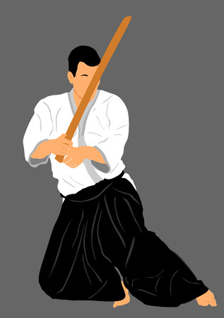 grappling: Aikido fighter vector silhouette illustration. Training action. Self defense, defense art exercising concept. Aikido instructor demonstrate skill with katana.