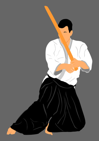 self defense: Aikido fighter vector silhouette illustration. Training action. Self defense, defence art excercising concept. Aicido instructor demonstrate skill with katana. Illustration