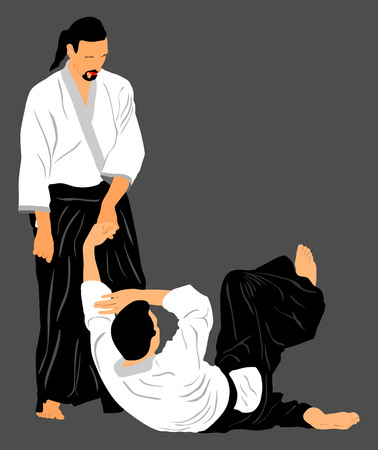 aikido: Fight between two aikido fighters vector silhouette symbol illustration.
