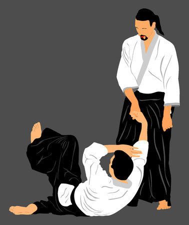 self defense: Fight between two aikido fighters vector silhouette symbol illustration. Sparring on training action. Self defense, defence art excercising concept.