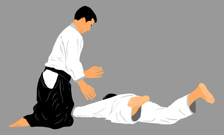 aikido: Fight between two fighters action. Self defens., Defence art excercising concept.