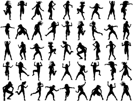 performance art: Modern style dancers vector silhouette illustration isolated on white background. Woman ballet performer. Sexy hip hop lady. Gangsta rap. Big set of dancers. accompanying dance group.