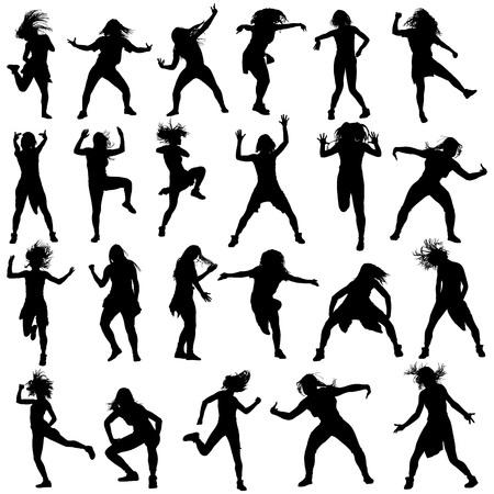 rnb: Modern style dancers vector silhouette illustration isolated on white background. Woman ballet performer. Sexy hip hop lady. Gangsta rap. Big set of dancers. accompanying dance group.