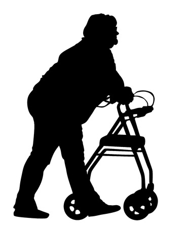 nursing clothes: Old lady with help to walk. Grandmother in nursing home. Senior disabled woman strolls with his wheeling walker, vector silhouette illustration isolated on white background. Vector silhouettes of man in a wheelchair. Illustration