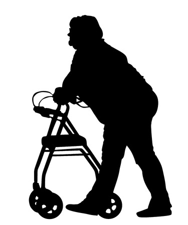 Old lady with help to walk. Grandmother in nursing home. Senior disabled woman strolls with his wheeling walker, vector silhouette illustration isolated on white background. Vector silhouettes of man in a wheelchair.