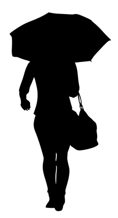 recollection: Girl with umbrella on the rain vector silhouette illustration isolated on white background.