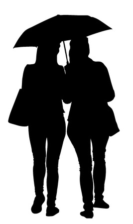 Two girls in love vector silhouette illustration. Two persons under umbrella, raining day.