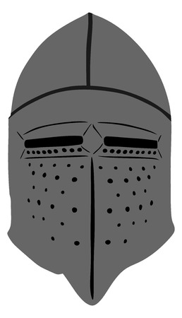 sparta: Helmet Of A Medieval suit of armour on a white background, vector illustration.