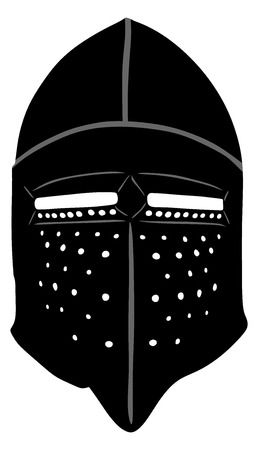 armour: Helmet Of A Medieval suit of armour on a white background, vector illustration.
