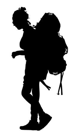 Toerist met illustratie van het rugzak de vectorsilhouet op witte achtergrond.