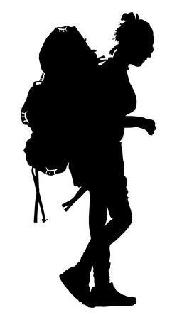 Turista con el morral ilustración vectorial silueta aislados sobre fondo blanco. Mujer caminando de pasajeros. Acampada itinerante chica.