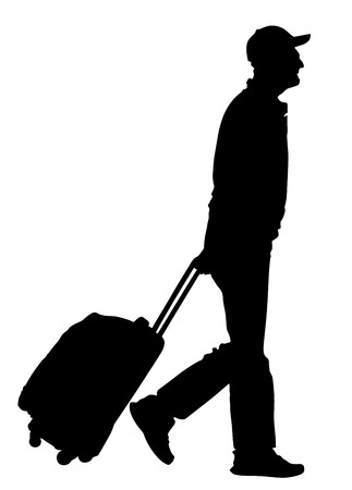 Tourist man traveler carrying his rolling suitcase vector silhouette illustration isolated on white background.