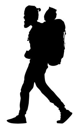 Turista con ilustración de silueta de vector de mochila aislado sobre fondo blanco. Pasajero inconformista masculino caminando. Camping hombre viajando. Ilustración de vector