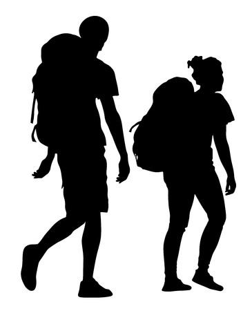 Los turistas pareja con mochilas ilustración vectorial de la silueta sobre fondo blanco.