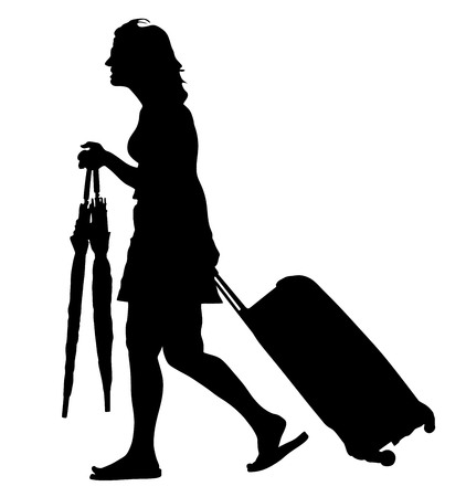 Tourist woman traveler carrying his rolling suitcase, and hold umbrellas vector silhouette illustration isolated on white background.