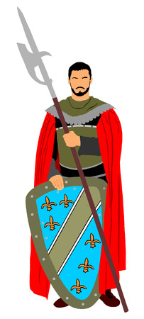 Knight in armor, with spear and shield vector illustration isolated on white background. Ilustrace