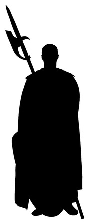 Knight in armor, with spear and shield vector silhouette illustration isolated on white background. Illustration