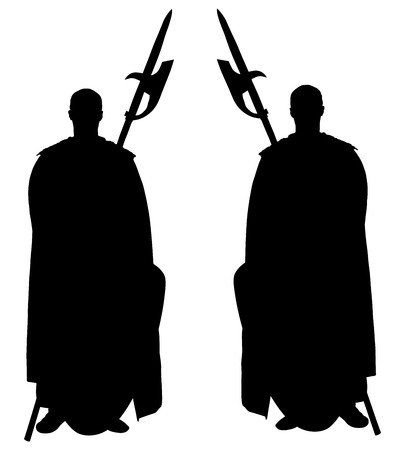 knighthood: Knights in armor, with spear and shield vector silhouette illustration isolated on white background. Kings guard of castle. Illustration