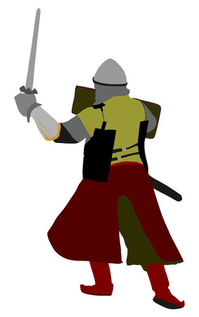 Knight in armor, with sword and shield vector illustration isolated on background.