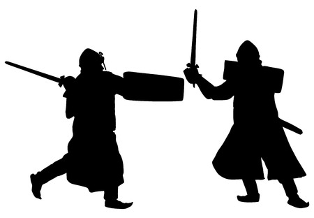 Knight in armor battle fight, with sword and shield vector illustration isolated on background.