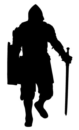 knighthood: Knight in armor, with sword and shield vector silhouette illustration isolated on white background. Illustration