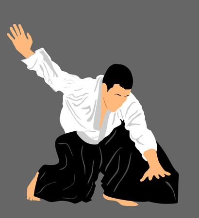 self defense: Aikido fighter vector silhouette illustration. Training action. Self defense, defence art excercising concept. Aicido instructor demonstrate skill.