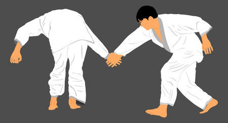 self defense: Fight between two karate or judo fighters vector silhouette symbol illustration. Sparring on training action. Self defense, defence art excercising concept. Illustration