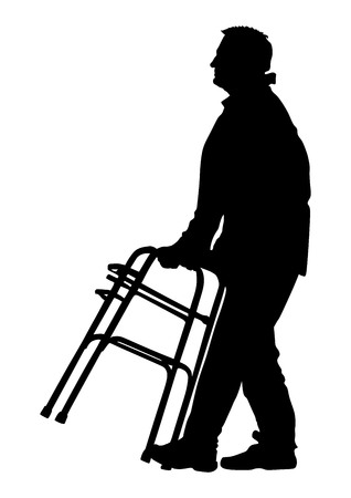 wheeling: A senior man strolls with his wheeling walker, vector silhouette illustration isolated on white background. Vector silhouettes of disabled man in a wheelchair.