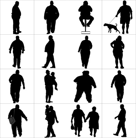 peering: Overweight persons, seniors, man, woman vector silhouette illustration isolated on white background. Active walking life. Illustration