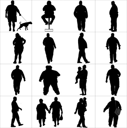 active life: Overweight persons, seniors, man, woman vector silhouette illustration isolated on white background. Active walking life. Illustration