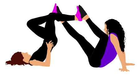 Two girls mat exercises, bicycle pose on the floor for warming up, vector illustration on white background. Illustration