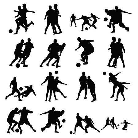 Different poses of soccer players vector silhouette isolated on white background. Very high quality detailed soccer football editable players cutout outlines. Vettoriali