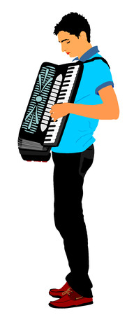 Musician accordion man vector Illustration isolated on white background.