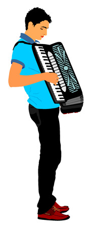 harmonic: Musician accordion man vector Illustration isolated on white background.