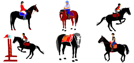 Horse collection - vector illustration isolated on white background. Jockeys and horses