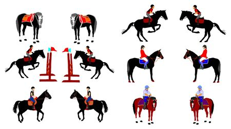 collection of Elegant jot racing horse in gallop vector isolated on white background. Jockey riding trot horse in race. Hippodrome sport event. Entertainment gambling. Betting for ambler champion.