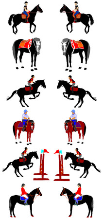 jockey's: Horse collection - vector illustration isolated on white background. Jockeys and horses. Horse at jumping.