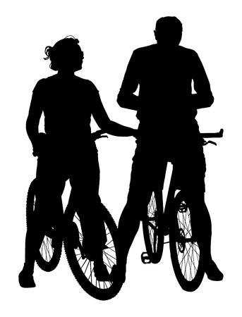 happy mature couple: Happy couple riding on bicycle vector silhouette illustration. Mature couple after work relaxing. Illustration