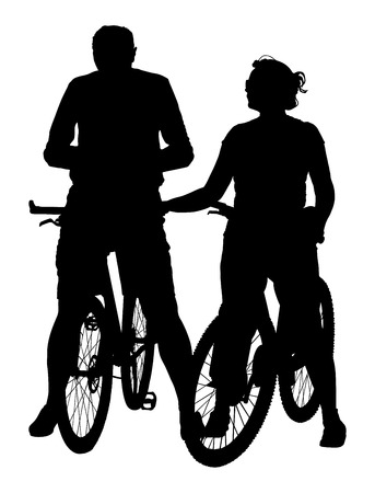 Happy couple riding on bicycle vector silhouette illustration. Mature couple after work relaxing. 向量圖像