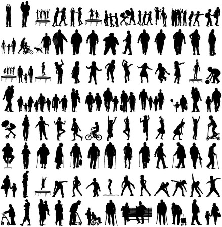 retired: Big set of people silhouettes, children,parents,seniors, .Family groups, couples vector silhouette illustration isolated on white background. Fathers day. Fat persons. Older people, health care group.